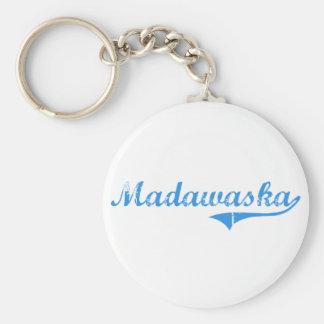 Diseño clásico de Madawaska Maine Llavero Redondo Tipo Pin