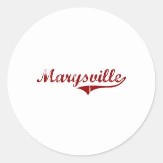 Diseño clásico de Marysville California Pegatina Redonda