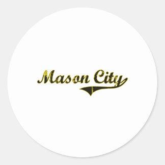 Diseño clásico de Mason City Iowa Pegatina Redonda
