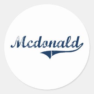 Diseño clásico de Mcdonald Pennsylvania Pegatinas Redondas
