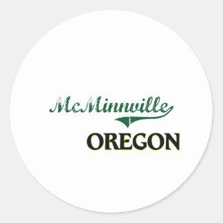 Diseño clásico de McMinnville Oregon Pegatina Redonda