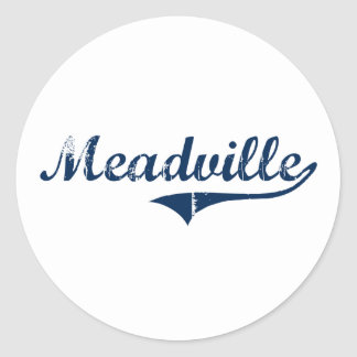 Diseño clásico de Meadville Pennsylvania Pegatinas Redondas