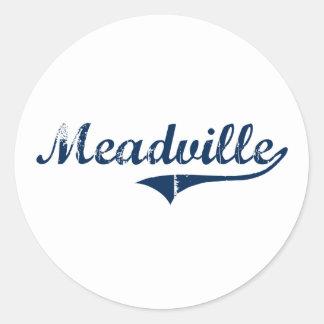 Diseño clásico de Meadville Pennsylvania Pegatina Redonda
