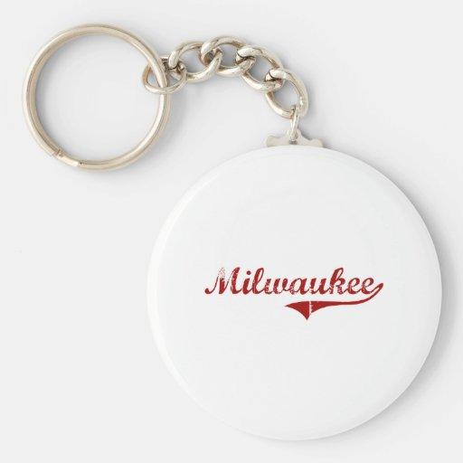 Diseño clásico de Milwaukee Wisconsin Llavero Personalizado