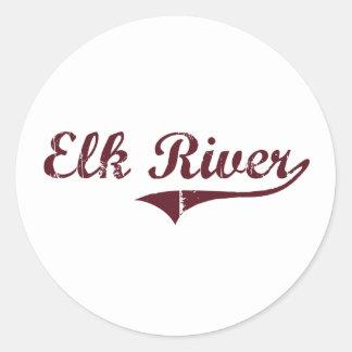 Diseño clásico de Minnesota del río de los alces Pegatina Redonda