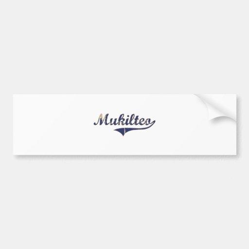 Diseño clásico de Mukilteo Washington Etiqueta De Parachoque