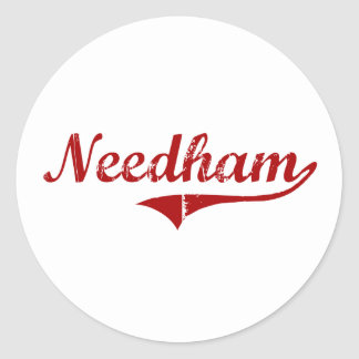 Diseño clásico de Needham Massachusetts Pegatina Redonda