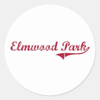 Diseño clásico de New Jersey del parque de Elmwood Etiqueta Redonda