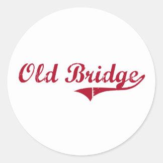 Diseño clásico de New Jersey del puente viejo Etiqueta Redonda
