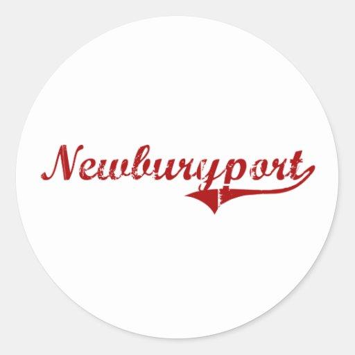 Diseño clásico de Newburyport Massachusetts Pegatina Redonda