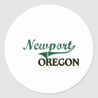 Diseño clásico de Newport Oregon Pegatina Redonda