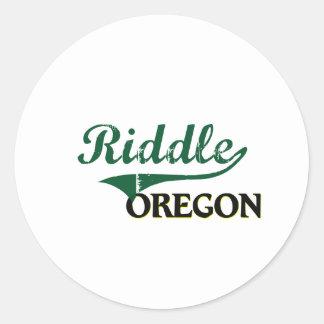 Diseño clásico de Oregon de la criba Pegatinas Redondas