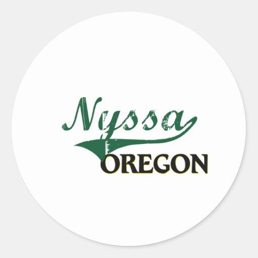 Diseño clásico de Oregon del Nyssa Pegatina Redonda