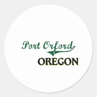 Diseño clásico de Orford Oregon del puerto Etiqueta Redonda