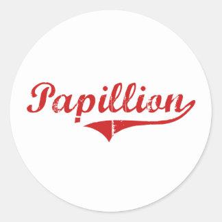 Diseño clásico de Papillion Nebraska Etiquetas Redondas