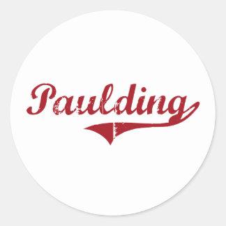 Diseño clásico de Paulding Ohio Pegatina Redonda