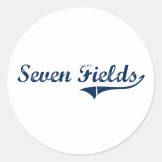 Diseño clásico de Pennsylvania de siete campos Pegatina Redonda