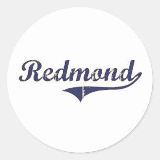 Diseño clásico de Redmond Washington Pegatina Redonda