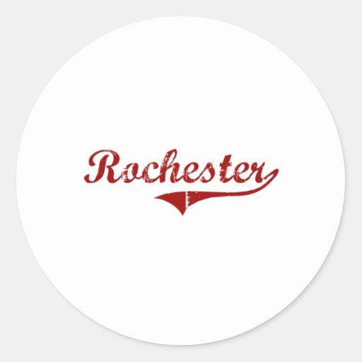 Diseño clásico de Rochester Wisconsin Pegatina Redonda
