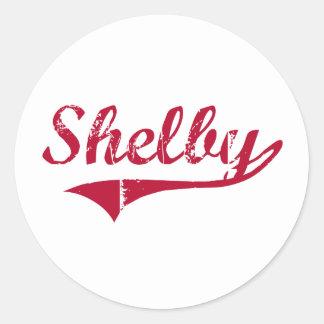 Diseño clásico de Shelby Mississippi Pegatina Redonda
