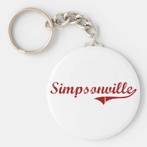 Diseño clásico de Simpsonville Carolina del Sur Llavero Redondo Tipo Pin