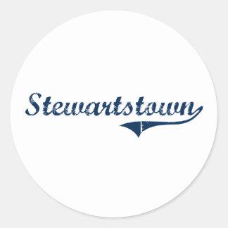 Diseño clásico de Stewartstown Pennsylvania Etiqueta Redonda