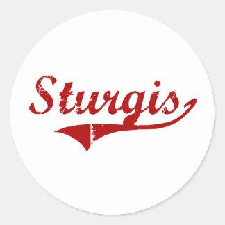 Diseño clásico de Sturgis Dakota del Sur Pegatina Redonda