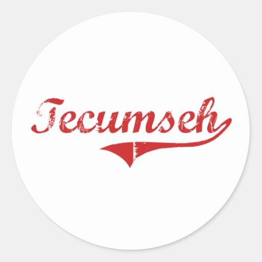 Diseño clásico de TECUMSEH Nebraska Etiqueta Redonda