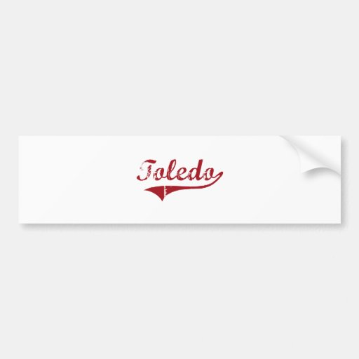 Diseño clásico de Toledo Ohio Etiqueta De Parachoque