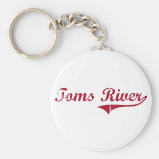 Diseño clásico de Toms River New Jersey Llavero Redondo Tipo Pin