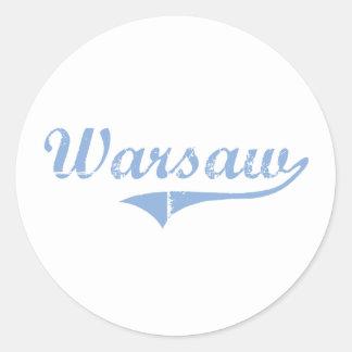 Diseño clásico de Varsovia Carolina del Norte Pegatinas Redondas