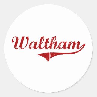 Diseño clásico de Waltham Massachusetts Pegatinas Redondas