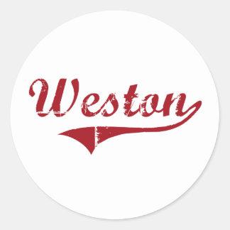 Diseño clásico de Weston Ohio Pegatina Redonda