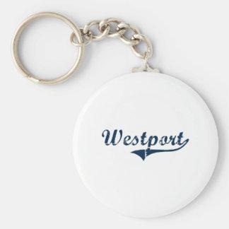 Diseño clásico de Westport Connecticut Llavero Redondo Tipo Pin