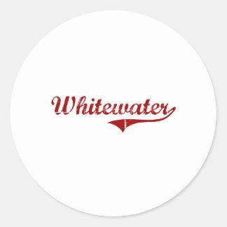 Diseño clásico de Whitewater Wisconsin Pegatina Redonda