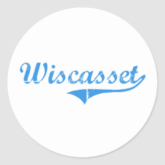Diseño clásico de Wiscasset Maine Pegatina Redonda