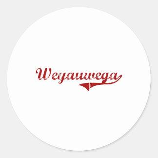 Diseño clásico de Wisconsin de las pescadillas Pegatinas Redondas