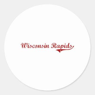 Diseño clásico de Wisconsin de los Rapids de Pegatina Redonda