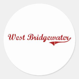 Diseño clásico del oeste de Bridgewater Pegatinas Redondas