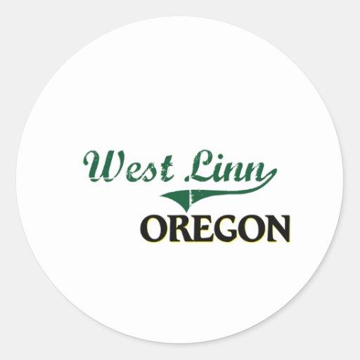 Diseño clásico del oeste de Linn Oregon Pegatina Redonda