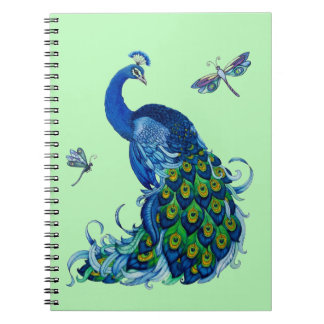 Diseño clásico del pavo real y de la libélula libreta