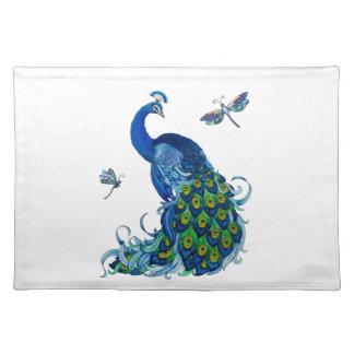 Diseño clásico del pavo real y de la libélula mantel individual