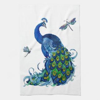Diseño clásico del pavo real y de la libélula toalla de cocina