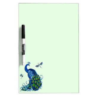 Diseño clásico del pavo real y de la libélula pizarras