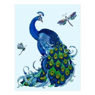 Diseño clásico del pavo real y de la libélula postales