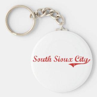 Diseño clásico del sur de Sioux City Nebraska Llavero Redondo Tipo Pin