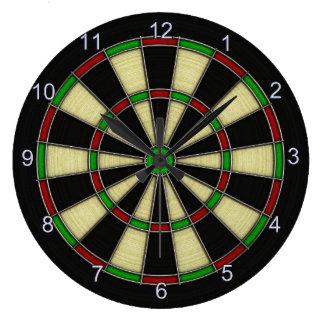Diseño clásico del tablero de dardo, dardos, juego reloj redondo grande