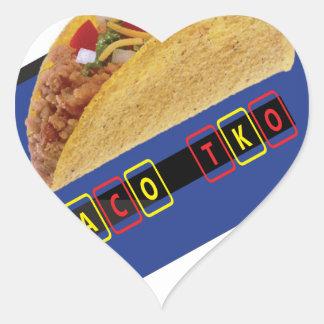 Diseño clásico del Taco del Taco TKO Pegatina En Forma De Corazón