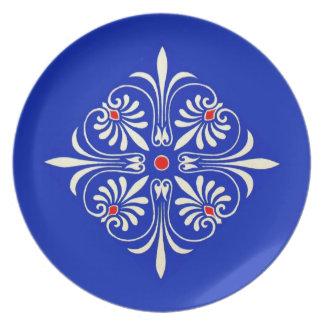 Diseño clásico grecorromano del adorno griego del  platos para fiestas
