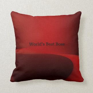Diseño clásico negro y rojo de mejor Boss del mund Cojin